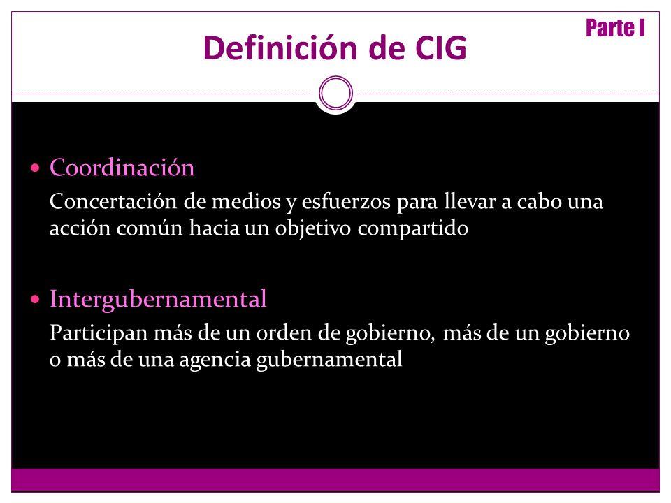 Definición de CIG Coordinación Concertación de medios y esfuerzos para llevar a cabo una acción común hacia un objetivo compartido Intergubernamental Participan más de un orden de gobierno, más de un gobierno o más de una agencia gubernamental Parte I