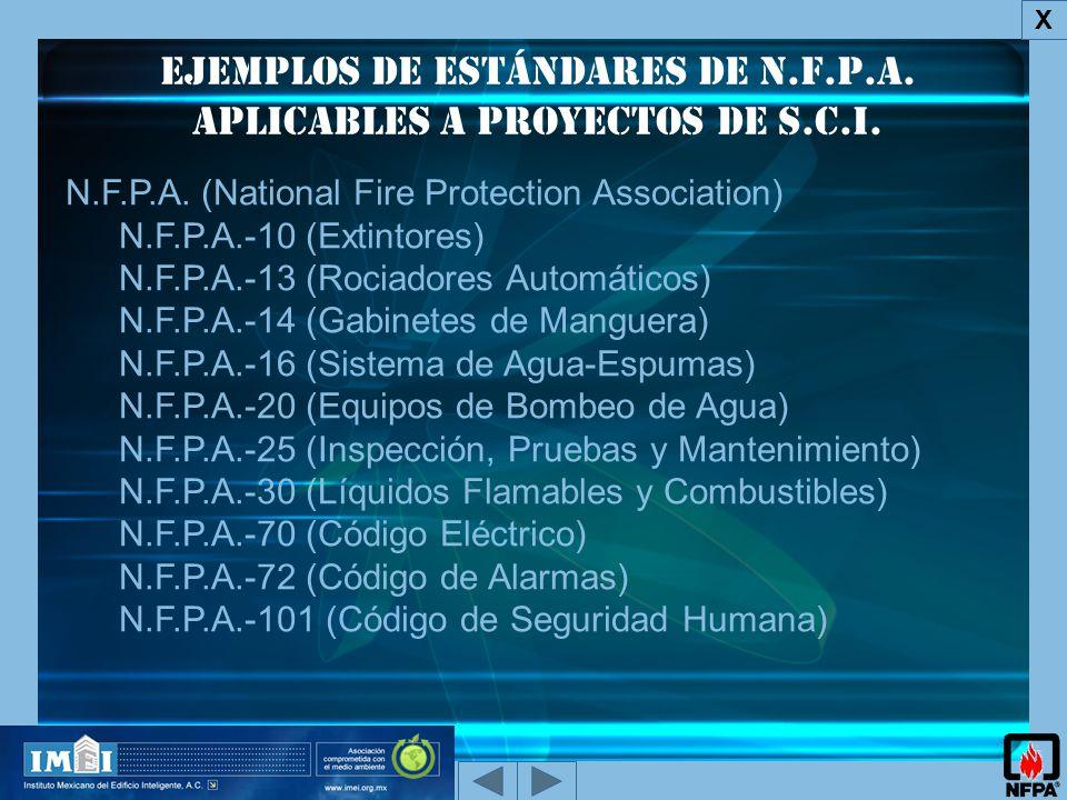 Ejemplos de Estándares de N.F.P.A.aplicables a proyectos de s.c.i.