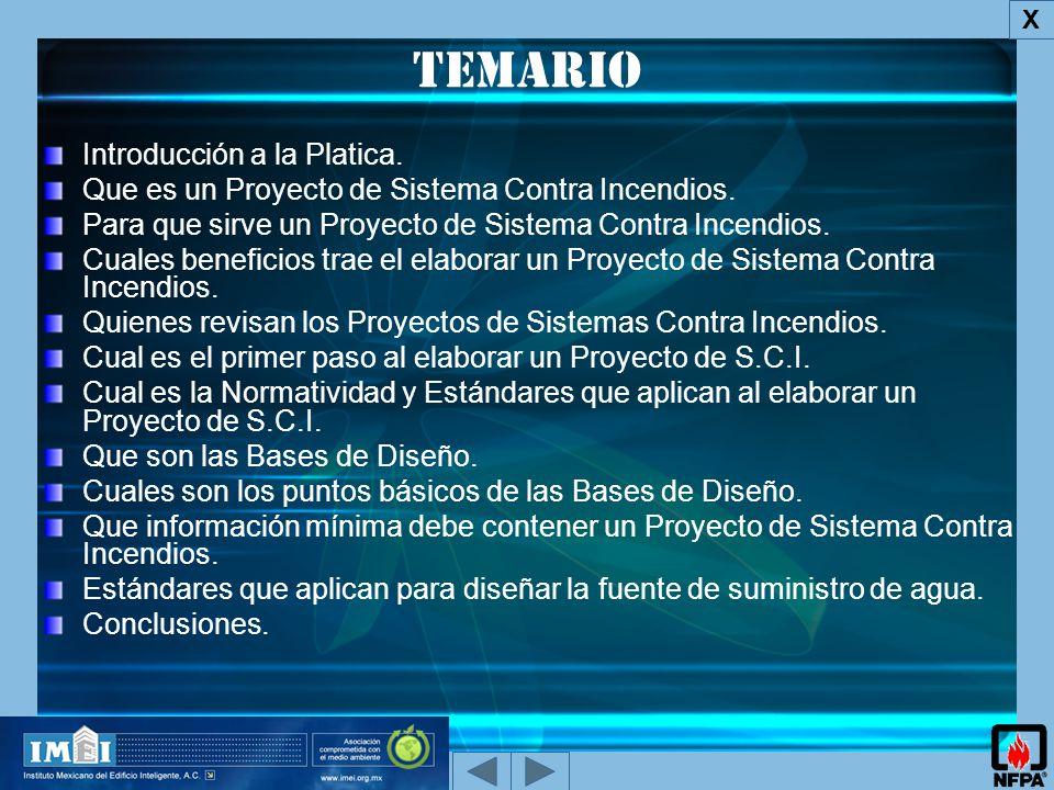 Temario Introducción a la Platica.Que es un Proyecto de Sistema Contra Incendios.