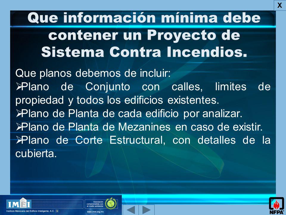 Que información mínima debe contener un Proyecto de Sistema Contra Incendios.