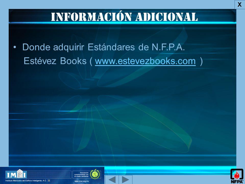 Información adicional X Donde adquirir Estándares de N.F.P.A.