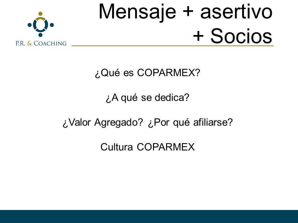 Mensaje + asertivo + Socios ¿Qué es COPARMEX? ¿A qué se dedica? ¿Valor Agregado? ¿Por qué afiliarse? Cultura COPARMEX