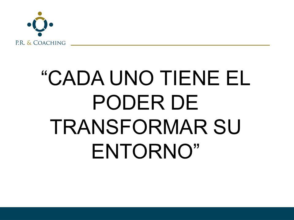 CADA UNO TIENE EL PODER DE TRANSFORMAR SU ENTORNO