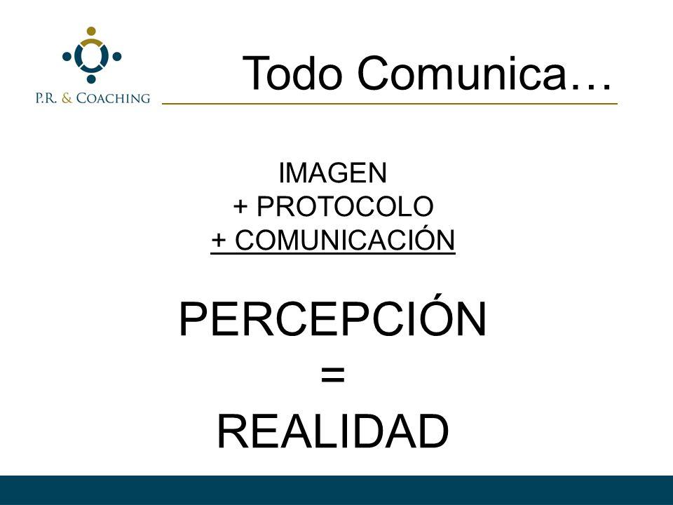 IMAGEN + PROTOCOLO + COMUNICACIÓN PERCEPCIÓN = REALIDAD Todo Comunica…