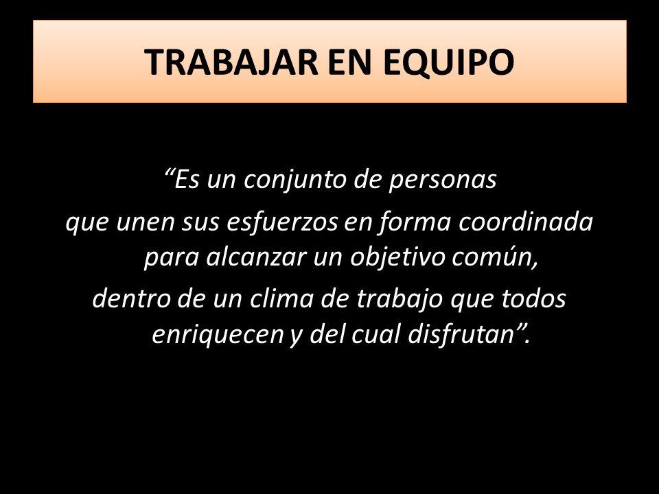 TRABAJAR EN EQUIPO TRABAJAR EN EQUIPO Es un conjunto de personas que unen sus esfuerzos en forma coordinada para alcanzar un objetivo común, dentro de