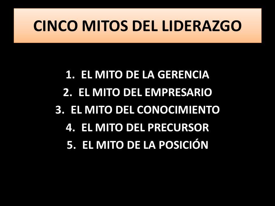 CINCO MITOS DEL LIDERAZGO 1.EL MITO DE LA GERENCIA 2.EL MITO DEL EMPRESARIO 3.EL MITO DEL CONOCIMIENTO 4.EL MITO DEL PRECURSOR 5.EL MITO DE LA POSICIÓN