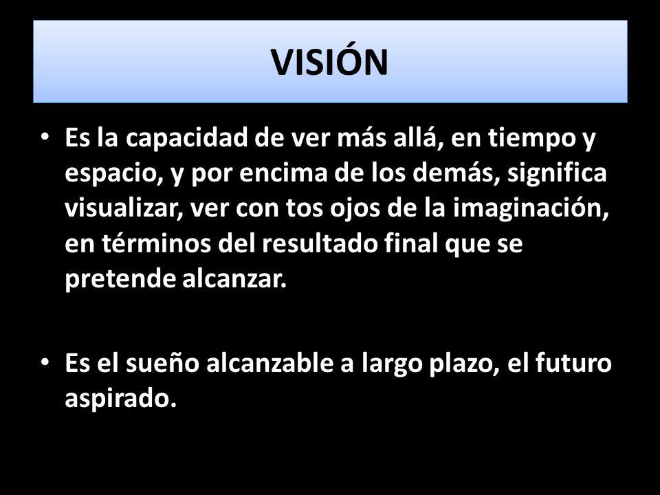 CUALIDADES DE LA VISIÓN 1.Te inspira a actuar 2.Involucra e inspira a otros a actuar a su vez 3.Define un futuro realista, creíble y atractivo 4.Nos indica hacia dónde nos dirigimos
