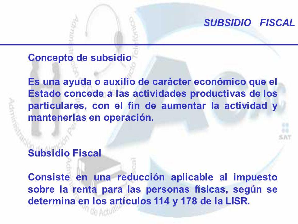 SUBSIDIO FISCAL Concepto de subsidio Es una ayuda o auxilio de carácter económico que el Estado concede a las actividades productivas de los particula