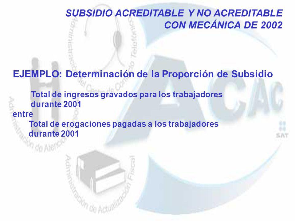 EJEMPLO: Determinación de la Proporción de Subsidio Total de ingresos gravados para los trabajadores durante 2001 entre Total de erogaciones pagadas a