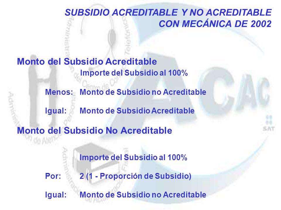 Monto del Subsidio Acreditable Importe del Subsidio al 100% Menos: Monto de Subsidio no Acreditable Igual: Monto de Subsidio Acreditable Monto del Sub