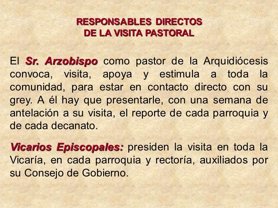 RESPONSABLES DIRECTOS DE LA VISITA PASTORAL Sr. Arzobispo El Sr.
