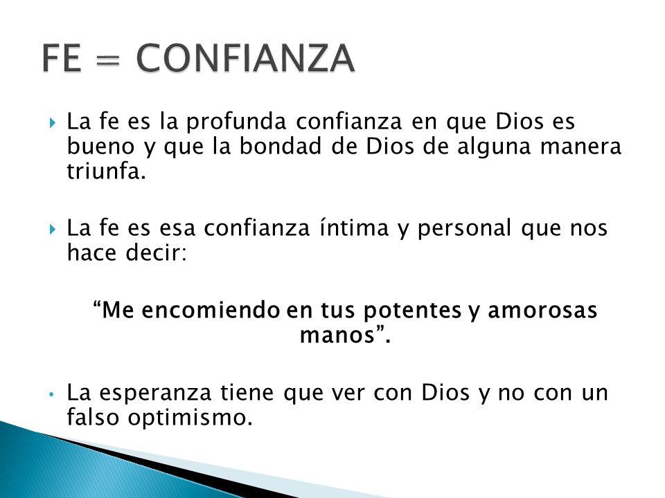 La fe es la profunda confianza en que Dios es bueno y que la bondad de Dios de alguna manera triunfa.