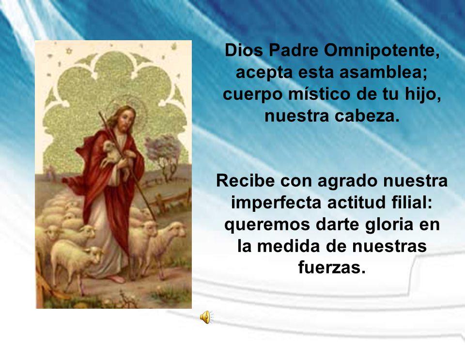 Dios Padre Omnipotente, acepta esta asamblea; cuerpo místico de tu hijo, nuestra cabeza. Recibe con agrado nuestra imperfecta actitud filial: queremos