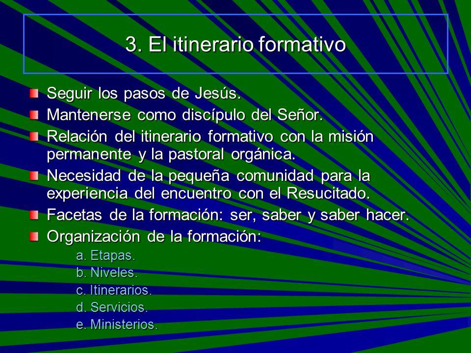 3. El itinerario formativo Seguir los pasos de Jesús. Mantenerse como discípulo del Señor. Relación del itinerario formativo con la misión permanente