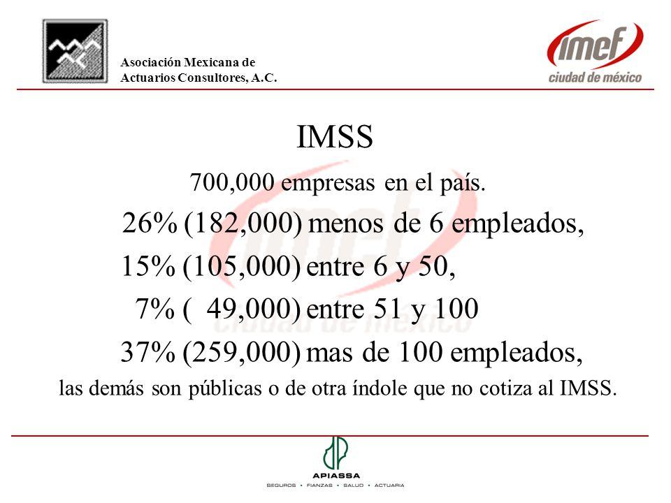IMSS 700,000 empresas en el país. 26% (182,000) menos de 6 empleados, 15% (105,000) entre 6 y 50, 7% ( 49,000) entre 51 y 100 37% (259,000) mas de 100