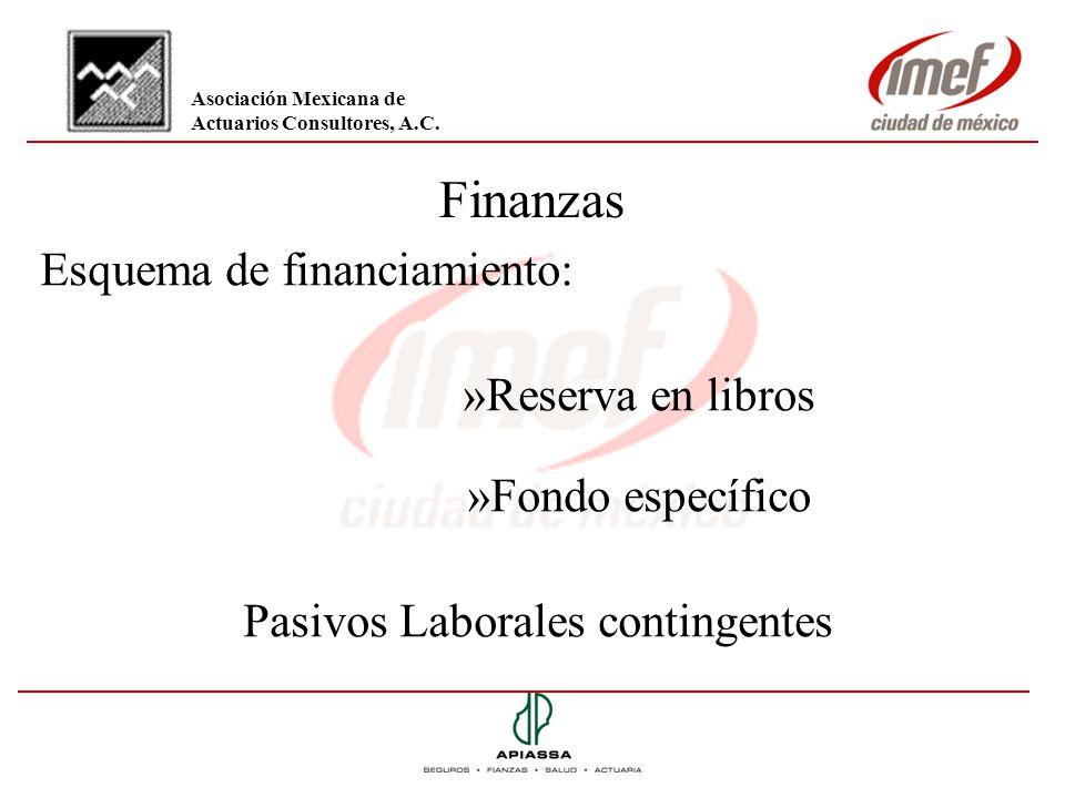 Finanzas Esquema de financiamiento: »Reserva en libros »Fondo específico Pasivos Laborales contingentes Asociación Mexicana de Actuarios Consultores,