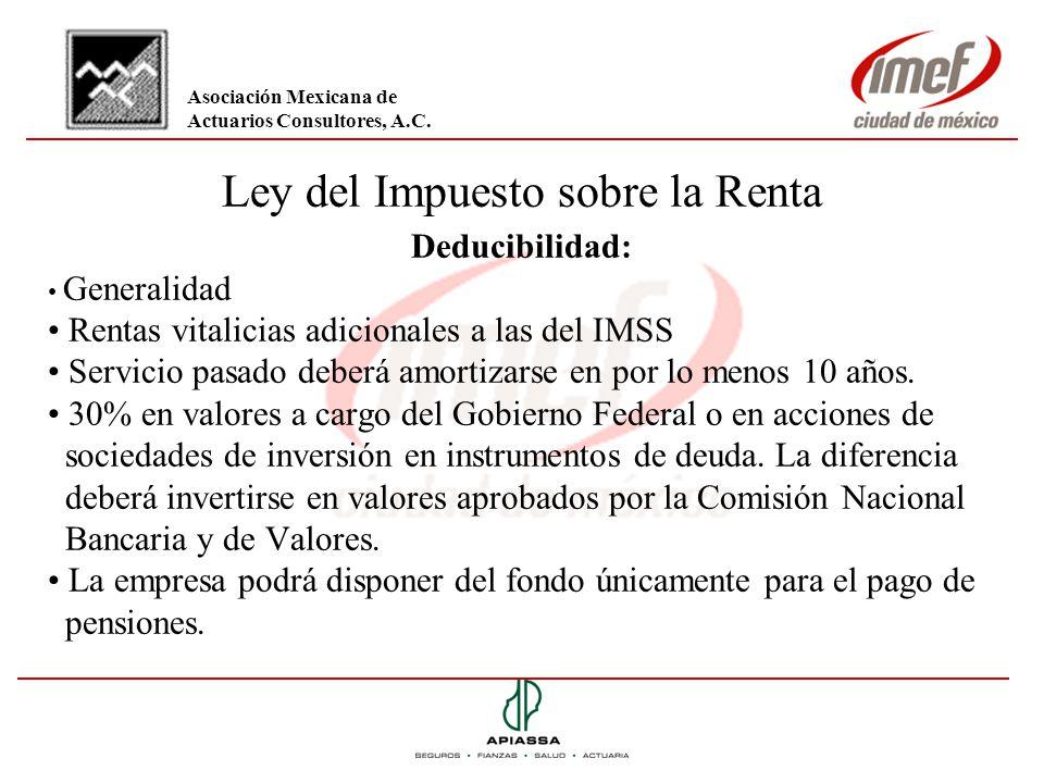 Ley del Impuesto sobre la Renta Deducibilidad: Generalidad Rentas vitalicias adicionales a las del IMSS Servicio pasado deberá amortizarse en por lo m