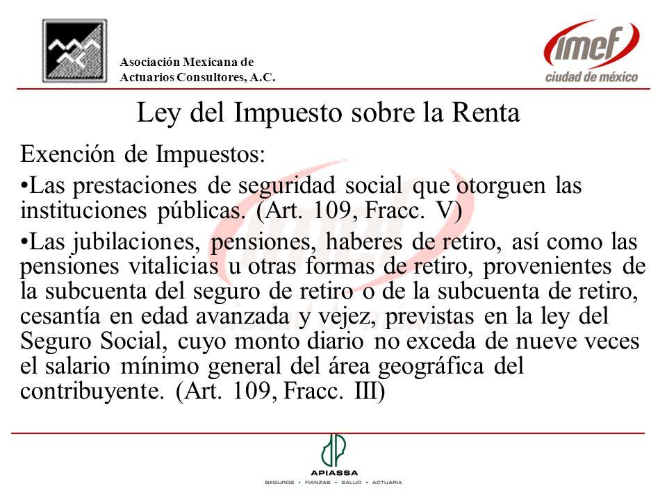 Ley del Impuesto sobre la Renta Exención de Impuestos: Las prestaciones de seguridad social que otorguen las instituciones públicas. (Art. 109, Fracc.