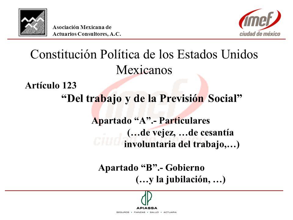 Constitución Política de los Estados Unidos Mexicanos Artículo 123 Del trabajo y de la Previsión Social Apartado A.- Particulares (…de vejez, …de cesa
