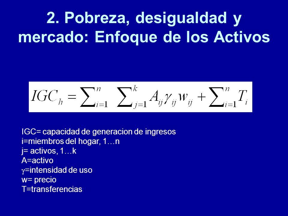 2. Pobreza, desigualdad y mercado: Enfoque de los Activos IGC= capacidad de generacion de ingresos i=miembros del hogar, 1…n j= activos, 1…k A=activo