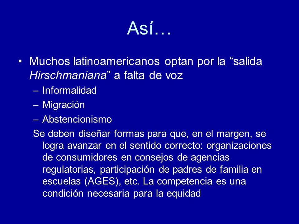 Así… Muchos latinoamericanos optan por la salida Hirschmaniana a falta de voz –Informalidad –Migración –Abstencionismo Se deben diseñar formas para que, en el margen, se logra avanzar en el sentido correcto: organizaciones de consumidores en consejos de agencias regulatorias, participación de padres de familia en escuelas (AGES), etc.