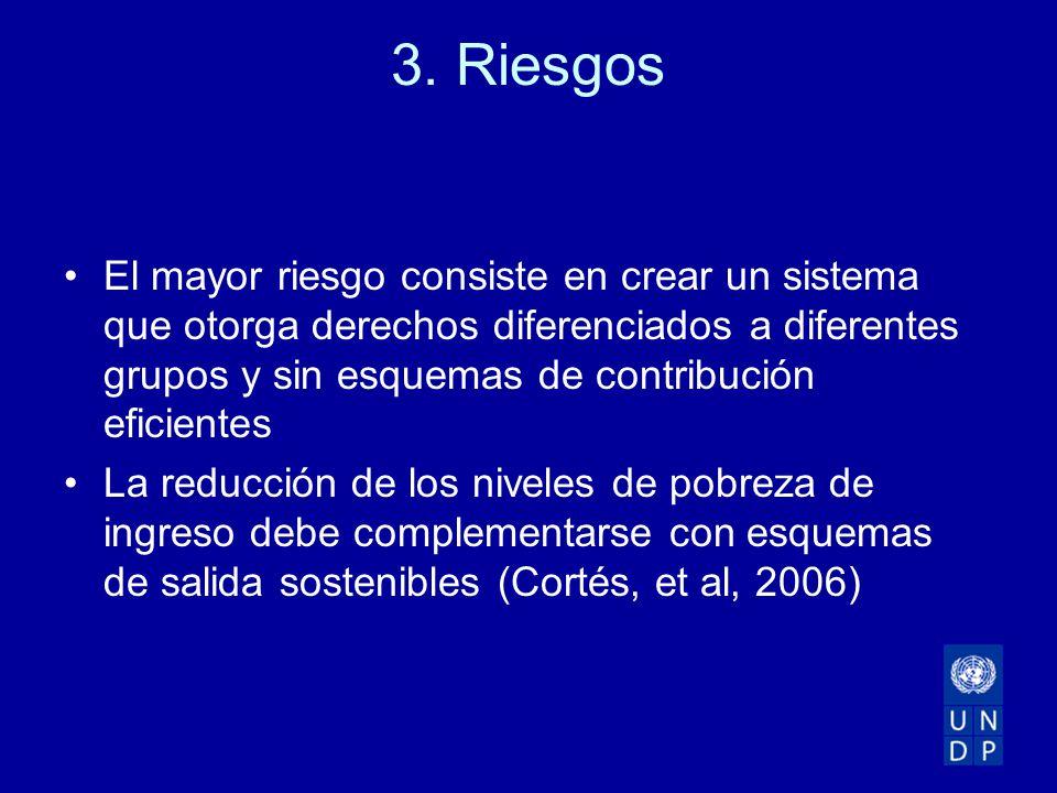 3. Riesgos El mayor riesgo consiste en crear un sistema que otorga derechos diferenciados a diferentes grupos y sin esquemas de contribución eficiente