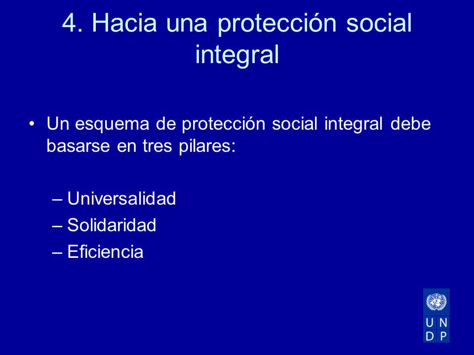4. Hacia una protección social integral Un esquema de protección social integral debe basarse en tres pilares: –Universalidad –Solidaridad –Eficiencia