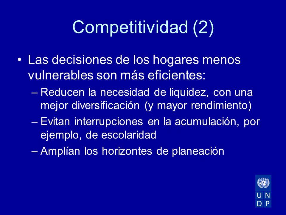Competitividad (2) Las decisiones de los hogares menos vulnerables son más eficientes: –Reducen la necesidad de liquidez, con una mejor diversificación (y mayor rendimiento) –Evitan interrupciones en la acumulación, por ejemplo, de escolaridad –Amplían los horizontes de planeación