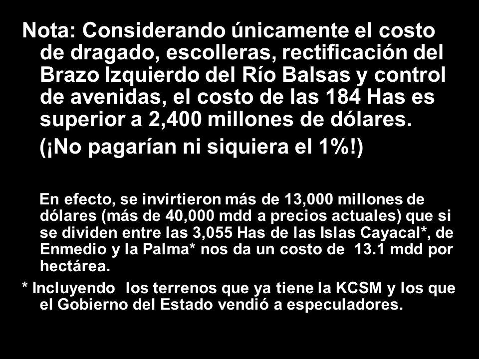 Nota: Considerando únicamente el costo de dragado, escolleras, rectificación del Brazo Izquierdo del Río Balsas y control de avenidas, el costo de las