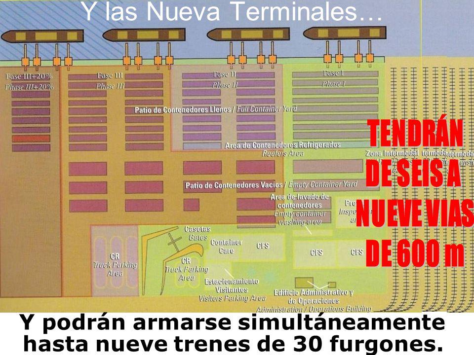 Y las Nueva Terminales… Y podrán armarse simultáneamente hasta nueve trenes de 30 furgones.