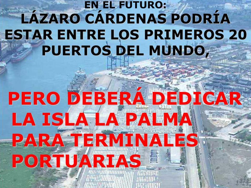 LÁZARO CÁRDENAS PODRÍA ESTAR ENTRE LOS PRIMEROS 20 PUERTOS DEL MUNDO, EN EL FUTURO: LÁZARO CÁRDENAS PODRÍA ESTAR ENTRE LOS PRIMEROS 20 PUERTOS DEL MUNDO, PERO DEBERÁ DEDICAR LA ISLA LA PALMA PARA TERMINALES PORTUARIAS PERO DEBERÁ DEDICAR LA ISLA LA PALMA PARA TERMINALES PORTUARIAS