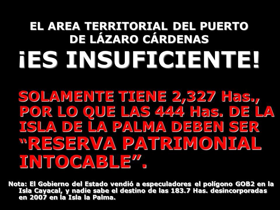 EL AREA TERRITORIAL DEL PUERTO DE LÁZARO CÁRDENAS ¡ES INSUFICIENTE! SOLAMENTE TIENE 2,327 Has., POR LO QUE LAS 444 Has. DE LA ISLA DE LA PALMA DEBEN S
