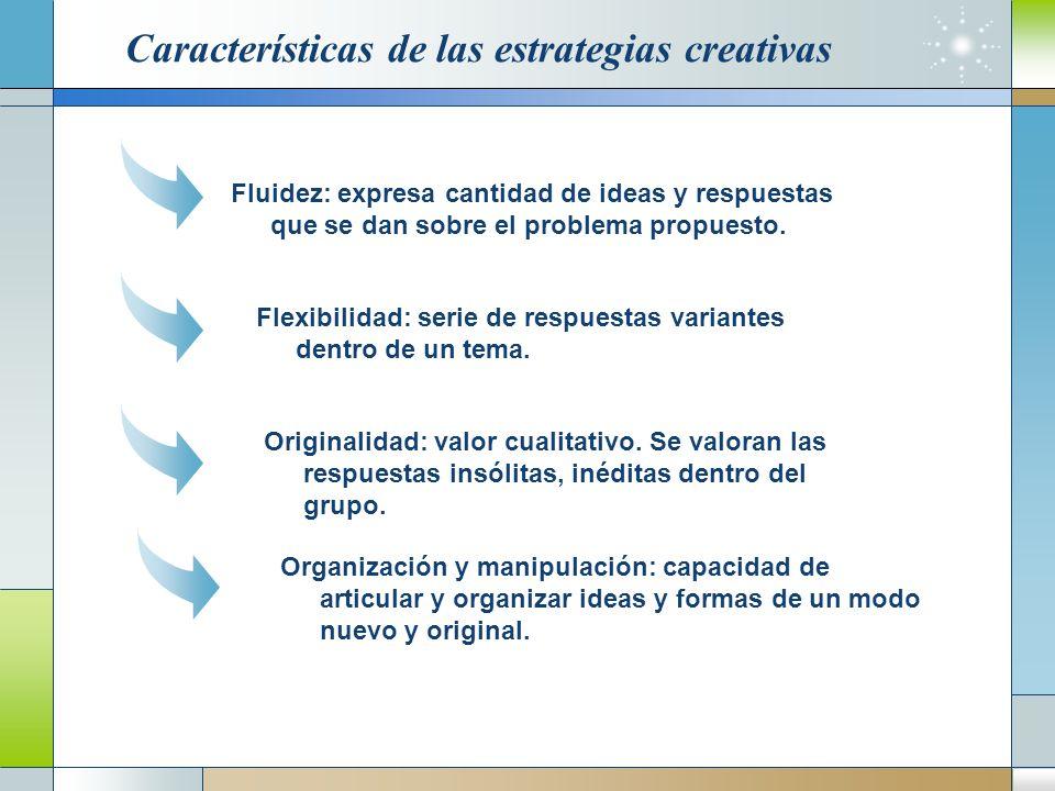Características de las estrategias creativas Fluidez: expresa cantidad de ideas y respuestas que se dan sobre el problema propuesto.