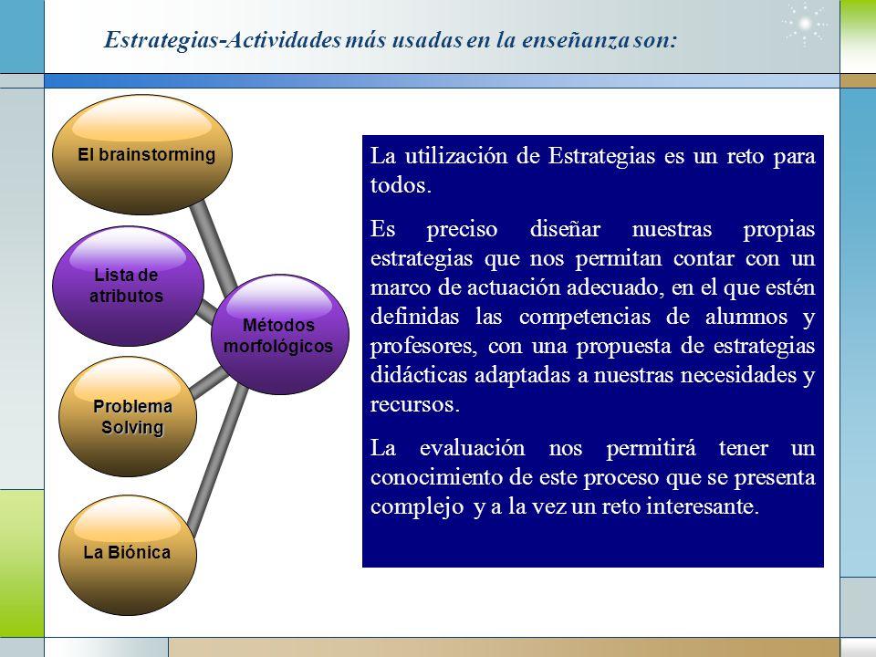 Estrategias-Actividades más usadas en la enseñanza son: El brainstorming Métodos morfológicos La Biónica Problema Solving Lista de atributos La utilización de Estrategias es un reto para todos.
