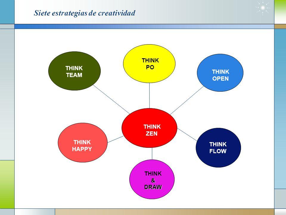 Siete estrategias de creatividad THINK TEAM THINK ZEN THINK FLOW THINK&DRAW HAPPY THINK PO THINK OPEN