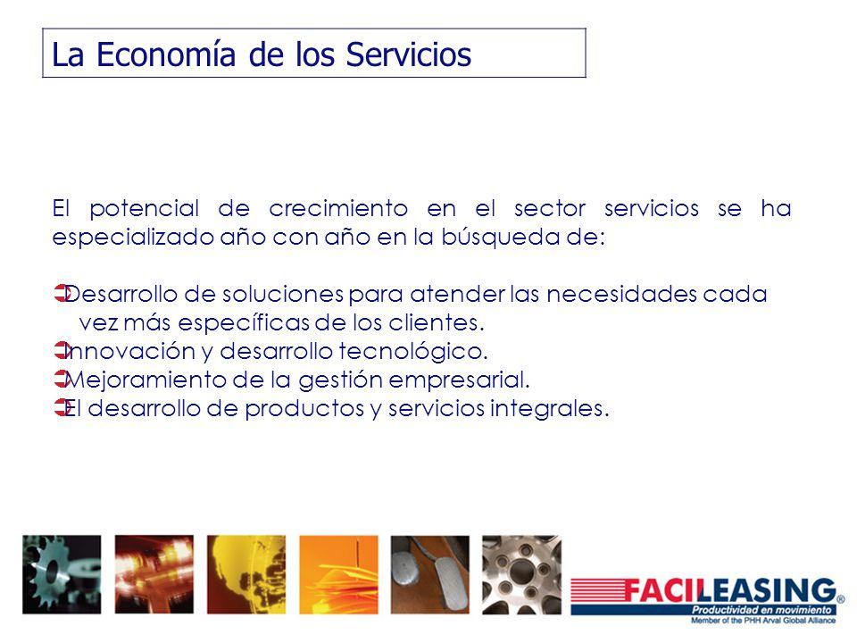 La Economía de los Servicios El potencial de crecimiento en el sector servicios se ha especializado año con año en la búsqueda de: Desarrollo de soluc