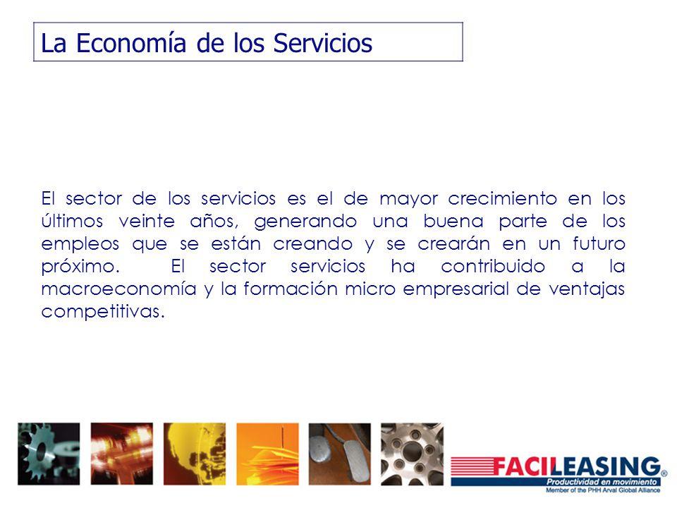 La Economía de los Servicios El sector de los servicios es el de mayor crecimiento en los últimos veinte años, generando una buena parte de los empleos que se están creando y se crearán en un futuro próximo.