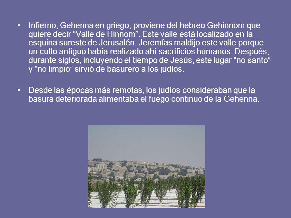 Infierno, Gehenna en griego, proviene del hebreo Gehinnom que quiere decir Valle de Hinnom.