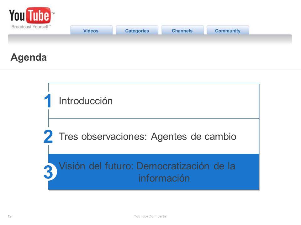 12 YouTube Confidential The YouTube Opportunity Agenda Introducción Tres observaciones: Agentes de cambio Visión del futuro: Democratización de la inf