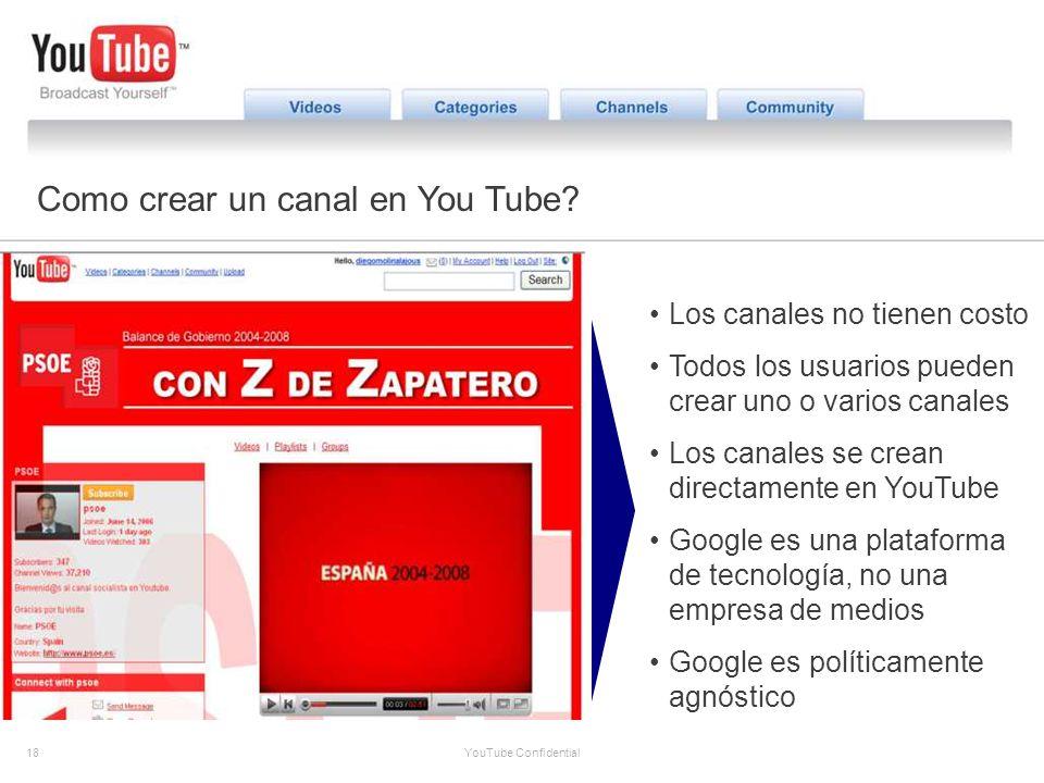 18 YouTube Confidential Partner Opportunities Como crear un canal en You Tube? Los canales no tienen costo Todos los usuarios pueden crear uno o vario