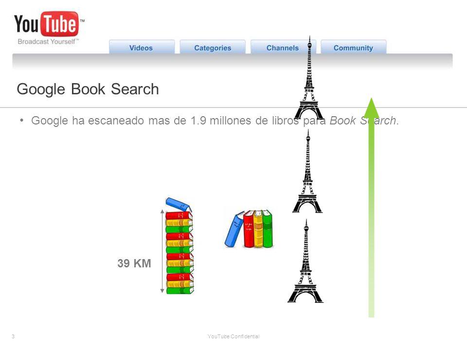 3 YouTube Confidential The YouTube Opportunity Google Book Search Google ha escaneado mas de 1.9 millones de libros para Book Search. 39 KM