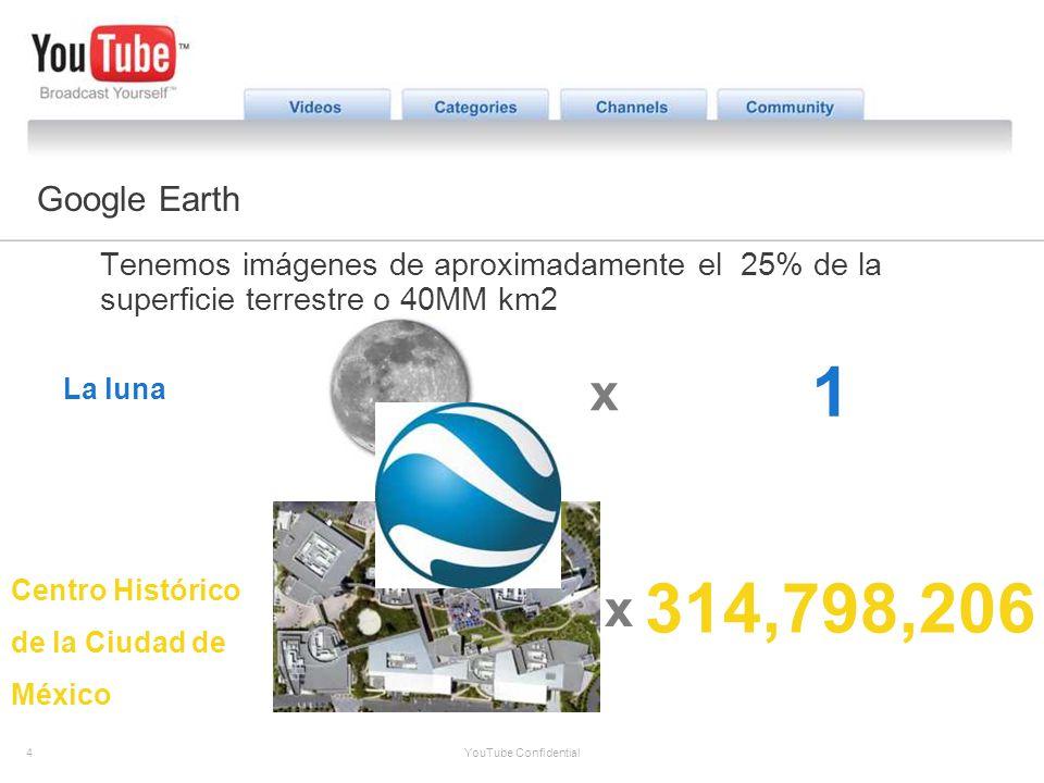 4 YouTube Confidential The YouTube Opportunity Google Earth Tenemos imágenes de aproximadamente el 25% de la superficie terrestre o 40MM km2 La luna x