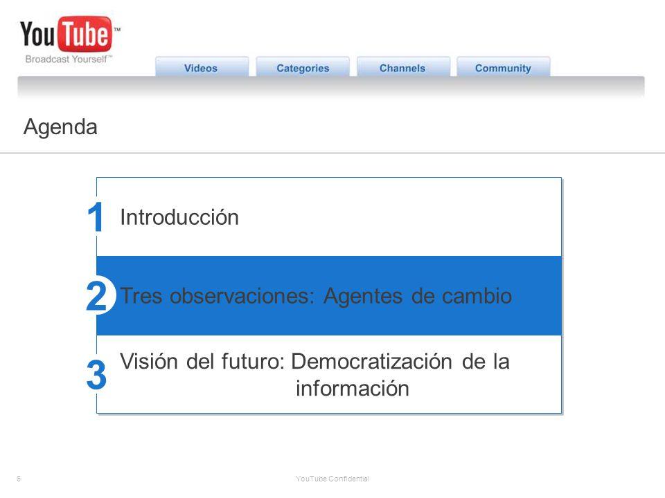 6 YouTube Confidential The YouTube Opportunity Agenda Introducción Tres observaciones: Agentes de cambio Visión del futuro: Democratización de la info