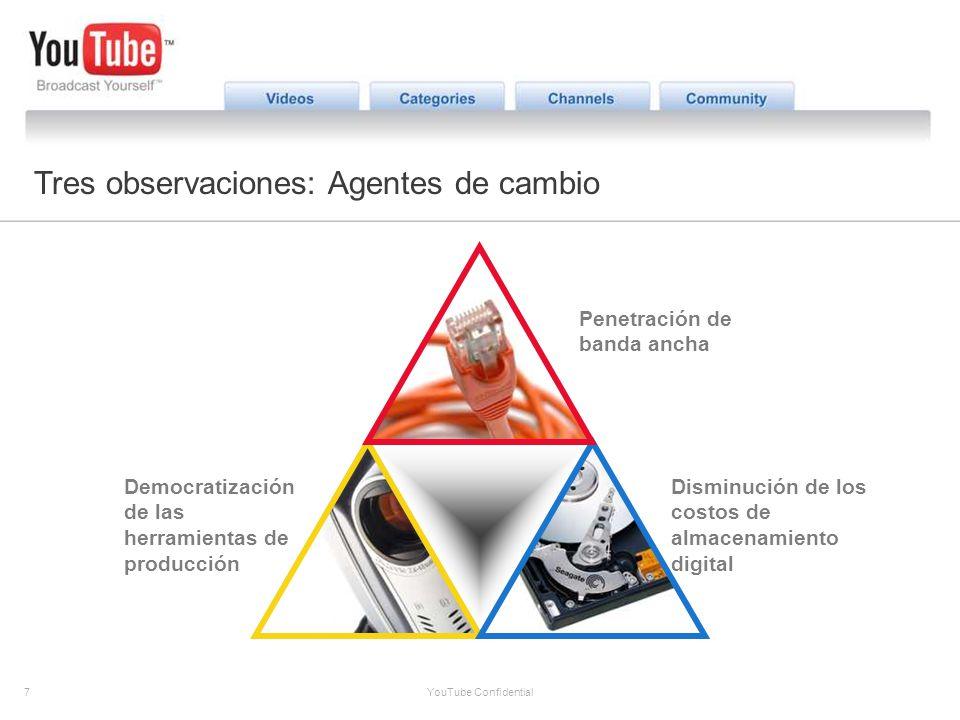 7 YouTube Confidential The YouTube Opportunity Tres observaciones: Agentes de cambio Democratización de las herramientas de producción Penetración de