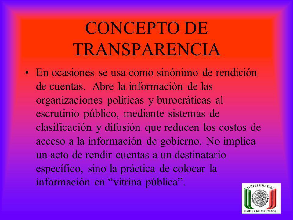 CONCEPTO DE TRANSPARENCIA En ocasiones se usa como sinónimo de rendición de cuentas. Abre la información de las organizaciones políticas y burocrática
