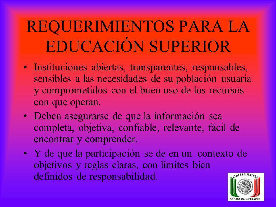 REQUERIMIENTOS PARA LA EDUCACIÓN SUPERIOR Instituciones abiertas, transparentes, responsables, sensibles a las necesidades de su población usuaria y c