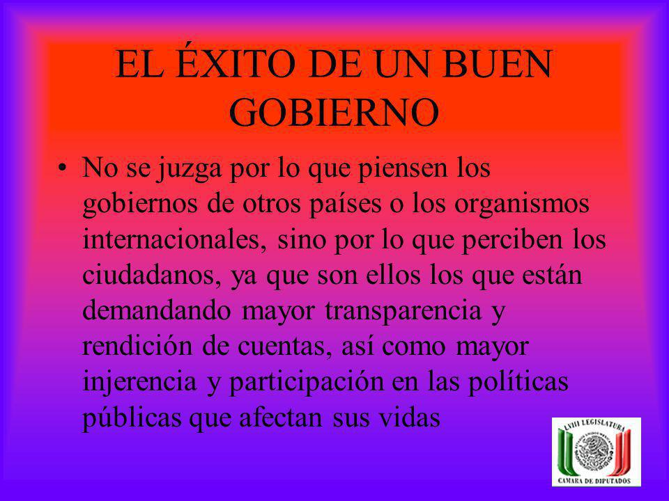 EL ÉXITO DE UN BUEN GOBIERNO No se juzga por lo que piensen los gobiernos de otros países o los organismos internacionales, sino por lo que perciben l