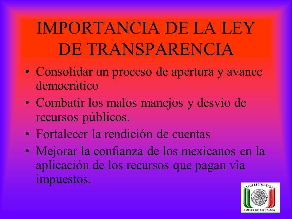 IMPORTANCIA DE LA LEY DE TRANSPARENCIA Consolidar un proceso de apertura y avance democrático Combatir los malos manejos y desvío de recursos públicos