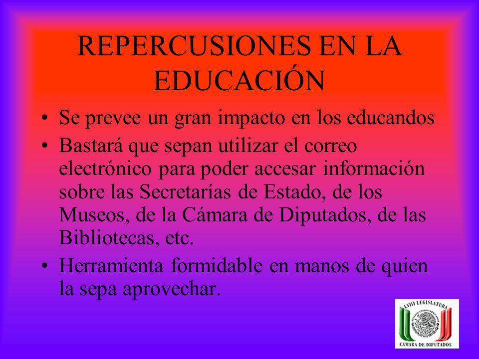 REPERCUSIONES EN LA EDUCACIÓN Se prevee un gran impacto en los educandos Bastará que sepan utilizar el correo electrónico para poder accesar informaci