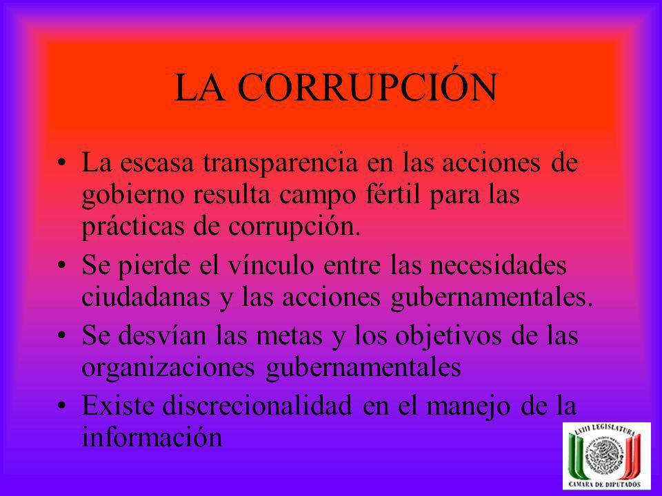 LA CORRUPCIÓN La escasa transparencia en las acciones de gobierno resulta campo fértil para las prácticas de corrupción. Se pierde el vínculo entre la